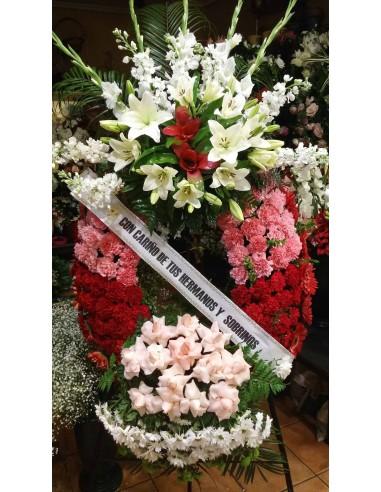 Corona Funeral blanca, rosa y roja