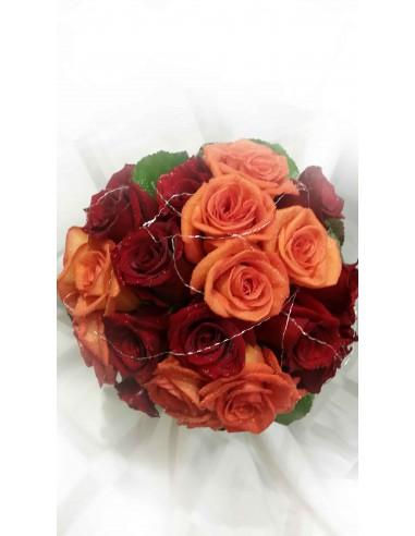 Ramo de Novia rosas rojas y naranja...