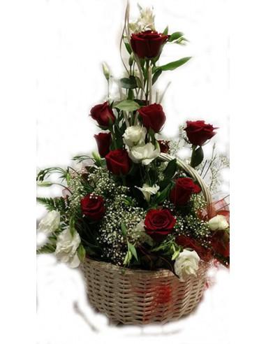 Centro de Rosas Rojas con lisiantum